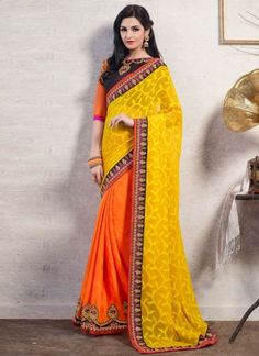 Yellow And Orange Designer Half N Half Saree http://www.angelnx.com/