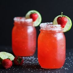 A strawberry beergarita mixed in a pitcher for a crowd. (strawberry daquiri mixer)