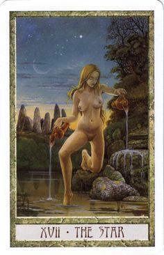 XVII. The Star - Druidcraft Tarot by Stephanie and Philip Carr-Gomm, Will Worthington