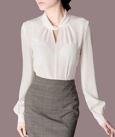 Осень пр наряд шелк воротник стойка длинная рукав рубашка женское a223 купить в магазине Shen Zhen Cora Century Technology(Amarrow) на AliExpress