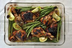 Because tomatoes, olives and haricots verts are tossed into the roasting pan, this is a meal made for someone who is interested in not messing up the kitchen.