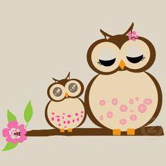 Cute mama & baby owls