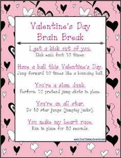 Valentine's Brain Break Exercises - get moving in the classroom with this quick brain break on Valentine's Day or any day this week!