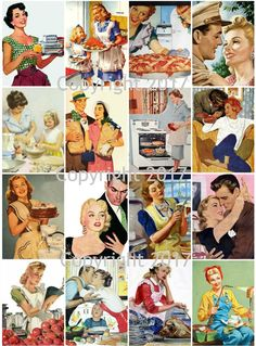 Retro 50s Ad Poster Images Collage Sheet 101