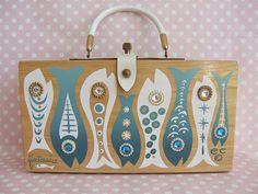 Enid Collins Fintasia box handbag, wood, fishes