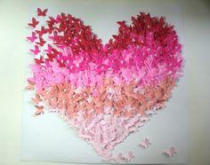 Painel 40 X 40 cm em formato de coração com borboletas em papel. Com aplicação spray protetor UV e antifungicida.    SAIBA PREÇO DE OUTROS TAMANHOS  Painel 60 x 60-------R$ 180,00  Painel 80 x 80------ R$ 250,00  Decore sua festa de casamento, aniversário, ou o quarto infantil. Fica muito chique ...