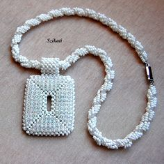 Beaded white seed bead necklace