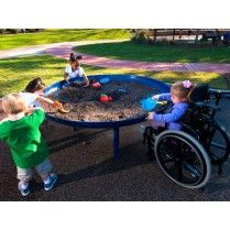 Up to eight children can enjoy the Elevated Sand Table at one time! This fun table promotes sensory development as children explore their imaginations with sand. Natural Playground, Outdoor Playground, Outdoor Play Spaces, Outdoor Fun, Sand Table, Sand Play, Playground Design, Playground Ideas, Sensory Garden