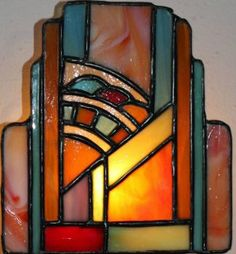 Stained Glass  ~  Art Deco Sconce (72 pieces)
