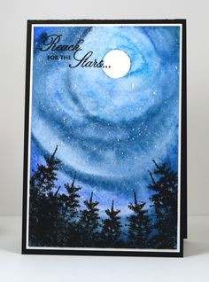 Heather Telford used watercolors, plus Black Soot Distress ink & Versafine Onyx ink. Scrapbook Expo, Scrapbooking, Penny Black Stamps, Reaching For The Stars, Card Patterns, Card Tutorials, Copics, Watercolor Cards, Making Ideas