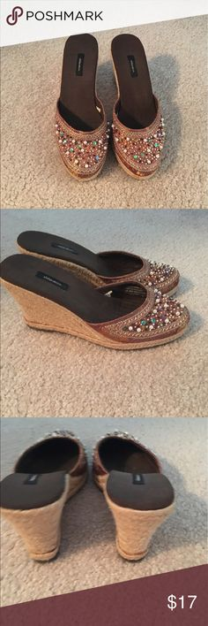 Rust embellished wedges Beautiful canvas slip on wedge sandals. Embellished hed with pearls and beads. Size 6.5 Shoes Sandals