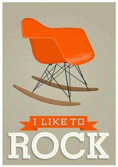 I like to rock, Eames rocking chair poster print by Jan Skacelik