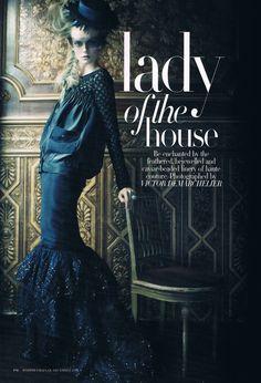 "Nimue Smit in ""Lady Of The House"" by Victor Demarchelier for Harper's Bazaar Australia December 2011"