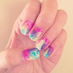Trexy Palen sent us her first attempt at #nailart and the watercolor creation looks far from novice. #nailsoftheday #notd