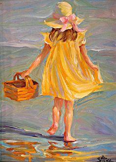 "The Yellow Dress II by September McGee Oil ~ 12 ""x Source by yolandatlam Oil Painting App, Figure Painting, Painting & Drawing, Photo D Art, Painting People, Pastel Art, Beach Art, Portrait Art, Art Oil"
