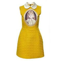 Yellow dress, featuring doll collar, soft touch fabric with baby head print in front, rear exposed zipper, sleeveless. This elegant dress goes great with your high heels and handbag when attending a fashion show.