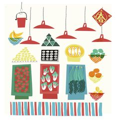City Illustration, Graphic Design Illustration, Kids Art Class, Art For Kids, Tea Restaurant, Hong Kong Art, Asian Design, Food Drawing, Watercolor Print