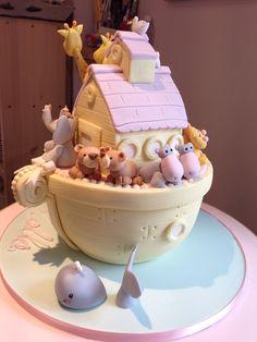 Novelty Noah's ark pink girl baby shower cake Noahs Ark Cake, Twin Birthday, Baby Shower Cakes, Pink Girl, Biscuits, Showers, Sweet, Shower Ideas, Desserts