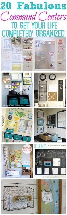Small Space Organization Tips & Tricks ~ 20 Fabulous Command Centers to Get Your Life Completely Organized at The Happy Housie 2 Organization Station, Home Organisation, Storage Organization, Kitchen Organization, Family Organization Wall, Office Organization At Work, Office Storage, Office Ideas, Storage Ideas