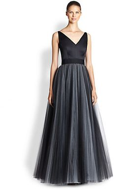 Milly V-Neck Tulle Gown on shopstyle.com