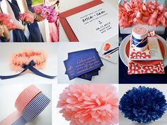 yellow navy coral wedding ideas | Navy and Coral Wedding Ideas Featuring Custom Bridal Garter | The ...