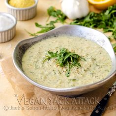 A creamy, yet healthy, Artichoke Arugula soup! | Finding Vegan