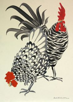 Best Friends by Jack Dickerson, Chicken and Rooster Rooster Painting, Rooster Art, Chicken Painting, Chicken Art, Chicken Drawing, Art And Illustration, Illustrations, Chicken Illustration, Rooster Illustration