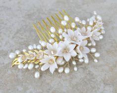 Flower and Leaf Wedding hair comb