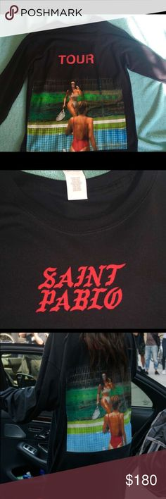 Saint Pablo Tour Merch Shirt This is an original piece, I bought it when he came to dallas on September 22nd. I have snapchat videos of me at the show, and I probably can find the ticket if you would like more proof! Never worn, has just been sitting in my closet. Yeezy Tops