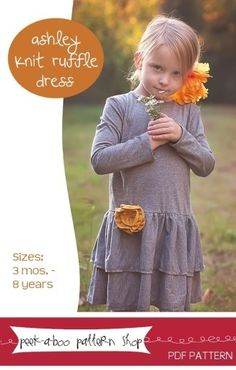 Ashley Knit Ruffle Dress: 3 mos. - 8 years | YouCanMakeThis.com