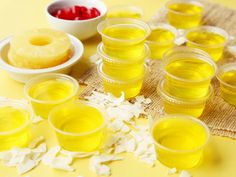 Island Pineapple Coconut Jello Shots Recipe - Genius Kitchen This has Malibu Rum which is coconut flavored. So it's not for the children. And who said jellos not for Adults? Malibu Jello Shots, Malibu Drinks, Malibu Rum, Jello Shots With Rum, Lemon Jello Shots, Summer Jello Shots, Party Drinks, Fun Drinks, Yummy Drinks
