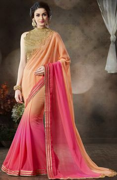 Pink Georgette Saree with Designer Blouse - #SareeFashion