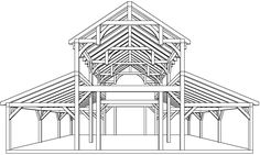 Equipment Barn in TX with Hemlock Frame and Curved Braces