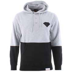 Diamond Supply Co. Split Brilliant Henley Hoody - Heather/black