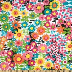 Michael Miller Sorbet Pop Garden White/Multi - Discount Designer Fabric - Fabric.com