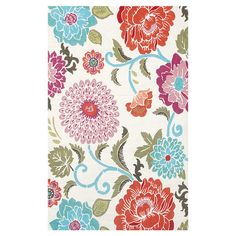 Indoor/outdoor floral rug.   Product: RugConstruction Material: Polyester acrylic blendColor: Red, whi...