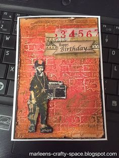 Buzzy Goings on at Bee Crafty Bidford: Marleen - Ghetto Blaster Boy & Distress Crayons. Fb Page, My Fb, Embossing Folder, Crayons, Scrap, Bee, Happy Birthday, Crafty, Baseball Cards