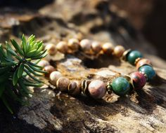 Bohemian Stack Beach Unisex Agate Jasper Stone Baeded Bracelet, Stackable Stretch Bracelet, Boho Chic Bracelet, Boho Hippie Gypsy Bracelet by ByLEXY on Etsy