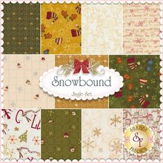 Snowbound 11 FQ Set - Jingle By Buggy Barn For Henry Glass Fabrics: Snowbound is a collection by Buggy Barn for Henry Glass Fabrics. 100% Cotton. This set contains 11 fat quarters, each measuring approximately 18