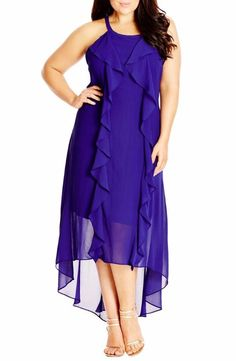 City Chic lush Layer High/low Halter Style Maxi Dress Dewberry Small FTC #3788