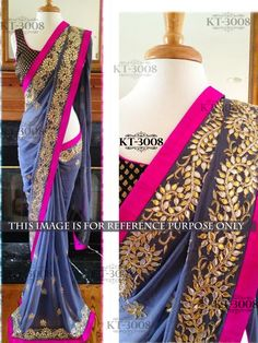 Rozdeal New Arrival Georgette Gota Patti Saree. STYLE: Designer Saree FABRIC: Georgette WORK: Sequins Work, Multi Work COLOUR: Grey OCCASION: Party, Festival, Ceremonial
