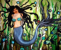 Mermaid Whimsical painting by Prisarts pristineturkus.blogspot.com