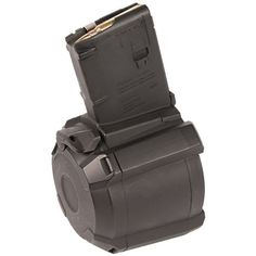 The PMAG is a durable, lightweight, highly reliable Remington* polymer drum magazine for compatible weapons. With a larger capacity than previous PMAGs, the PMAG gives the shooter 60 rounds of ammunition, Drum Magazine, Black Magazine, Guns And Ammo, Weapons Guns, Tactical Gear, Tactical Firearms, Tactical Clothing, Drums, Gears
