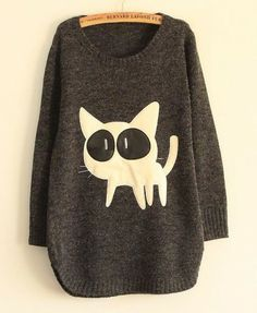 Leather Splicing Big Eyes Cat Pullover - Knitwear - Clothing