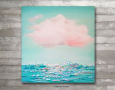 """huge Original Textured Abstract Contemporary Acrylic seascape Painting art on canvas. """"The cloud 1""""."""