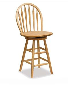 wooden bar stool with a back that swivels