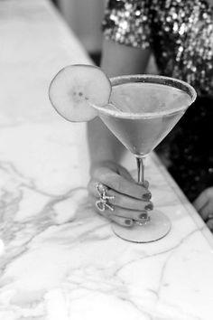 French Pear Martini | freutcake; 1 ½ oz. St. Germain Elderflower liqueur 1 ½ oz. Pear Vodka Chilled Champagne Granulated sugar for the rim 1 lemon, wedged 1 pear, sliced