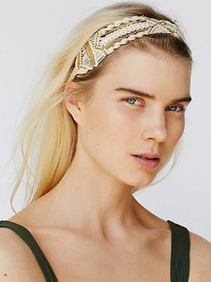 Macrame Shimmer Headband from Free People! Macrame Headband, Boho Headband, Macrame Jewelry, Holiday Wedding Decor, Dread Beads, Macrame Design, Hair Accessories For Women, Hair Pictures, Headband Hairstyles