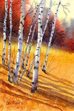 Slope Canvas Print / Canvas Art by Sheila Psaledas Birch in autumn. Next watercolor project? It reminds me so fondly of Calvin & Hobbes!Birch in autumn. Next watercolor project? It reminds me so fondly of Calvin & Hobbes! Watercolor Projects, Watercolor Trees, Watercolor Techniques, Watercolor Landscape, Watercolor Paintings, Painting Art, Watercolors, Landscape Artwork, Acrylic Paintings