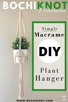 up-to-date Free of Charge basic Macrame Plant Hanger Ideas DIY Macrame Beginner Plant Hanger: Simple 2 Knot Macrame Facile Plant Hanger Pattern Diy Macrame Wall Hanging, Macrame Plant Hanger Patterns, Macrame Plant Holder, Free Macrame Patterns, Macrame Mirror, Macrame Curtain, Macrame Knots, Macrame Bracelets, Macrame Cord